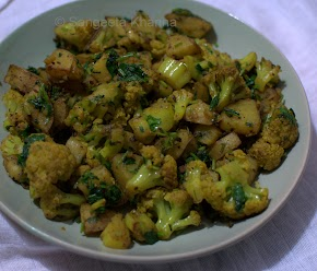 Cauliflowers and potatoes for a quick stir fry, or make it a warm salad...