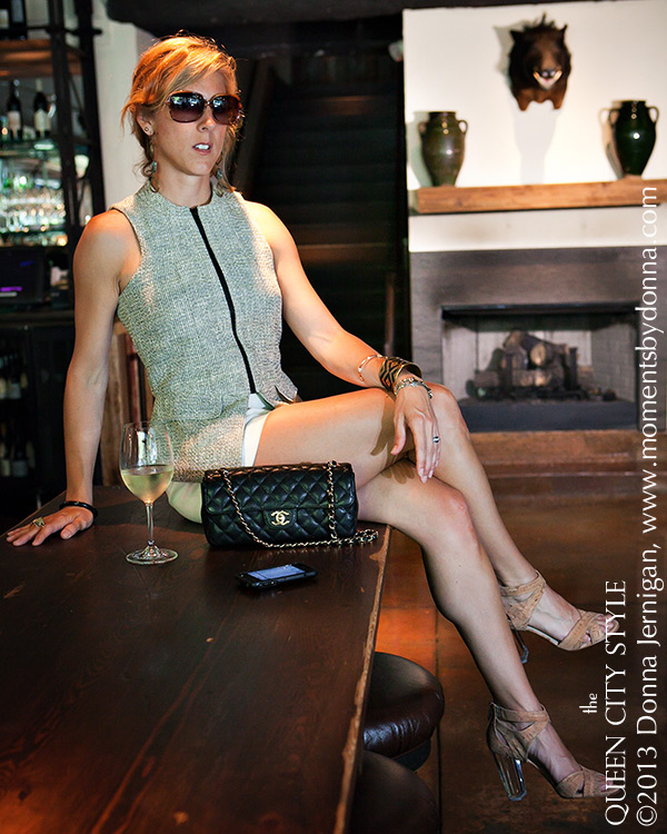 rooster's charlotte, Donald J Pliner cork and lucite pumps, Chanel Chain Purse, Hunter Dixon vest, Luv Aj Earrings, Uptown Charlotte, the Queen City Style, Southern Style Blog, Charlotte Fashion Blog,