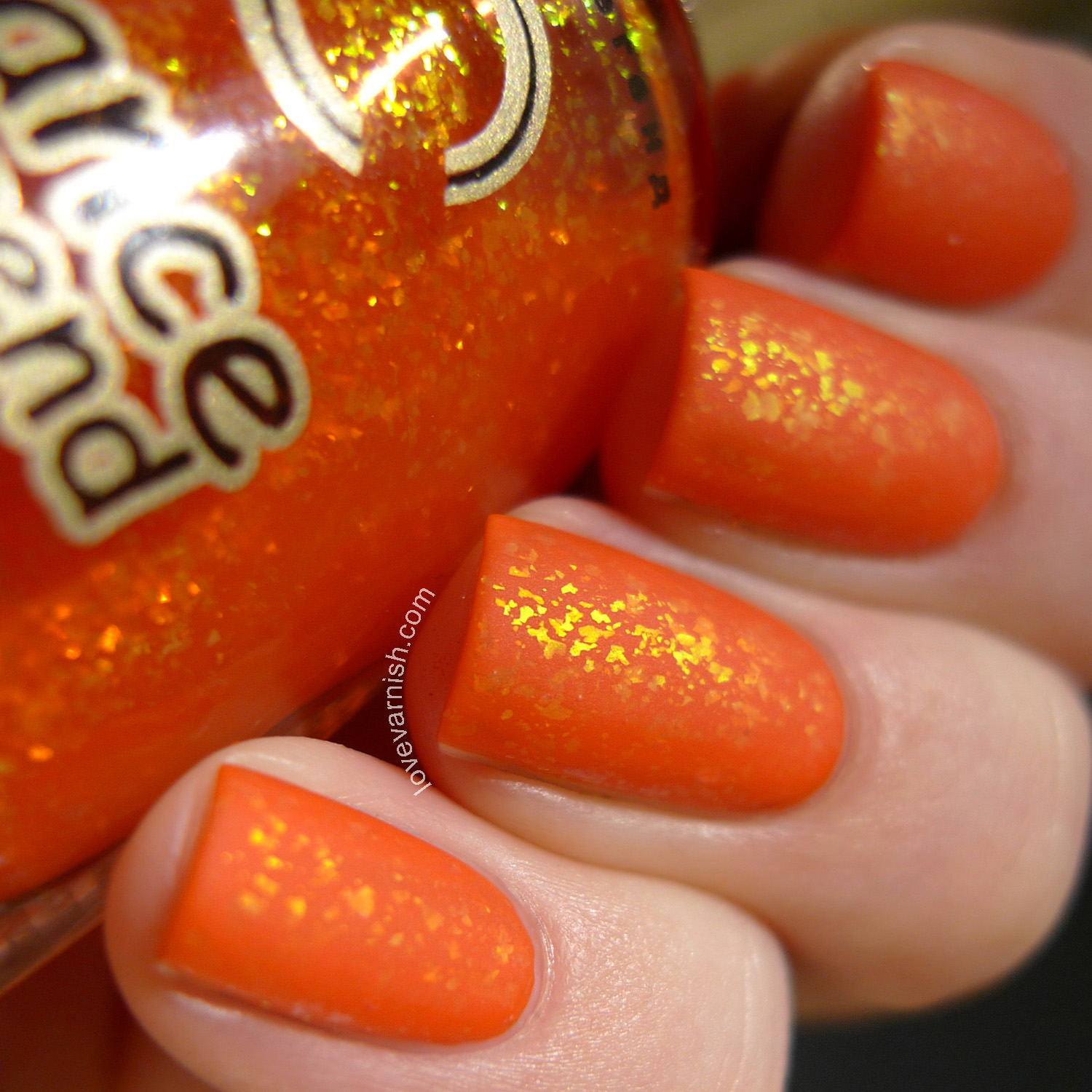 Dance Legend Candy Flakes Sweetest Thing orange golden flakie polish matte