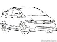 Download lembar mewarnai gambar mobil Honda untuk diwarnai anak-anak