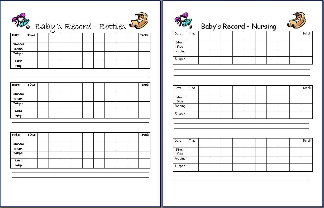 Baby Feeding And Sleeping Schedule Template