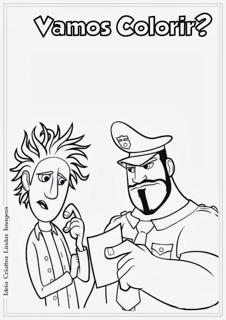 Tá chovendo Hambúrguer Flint e Earl desenho pra colorir