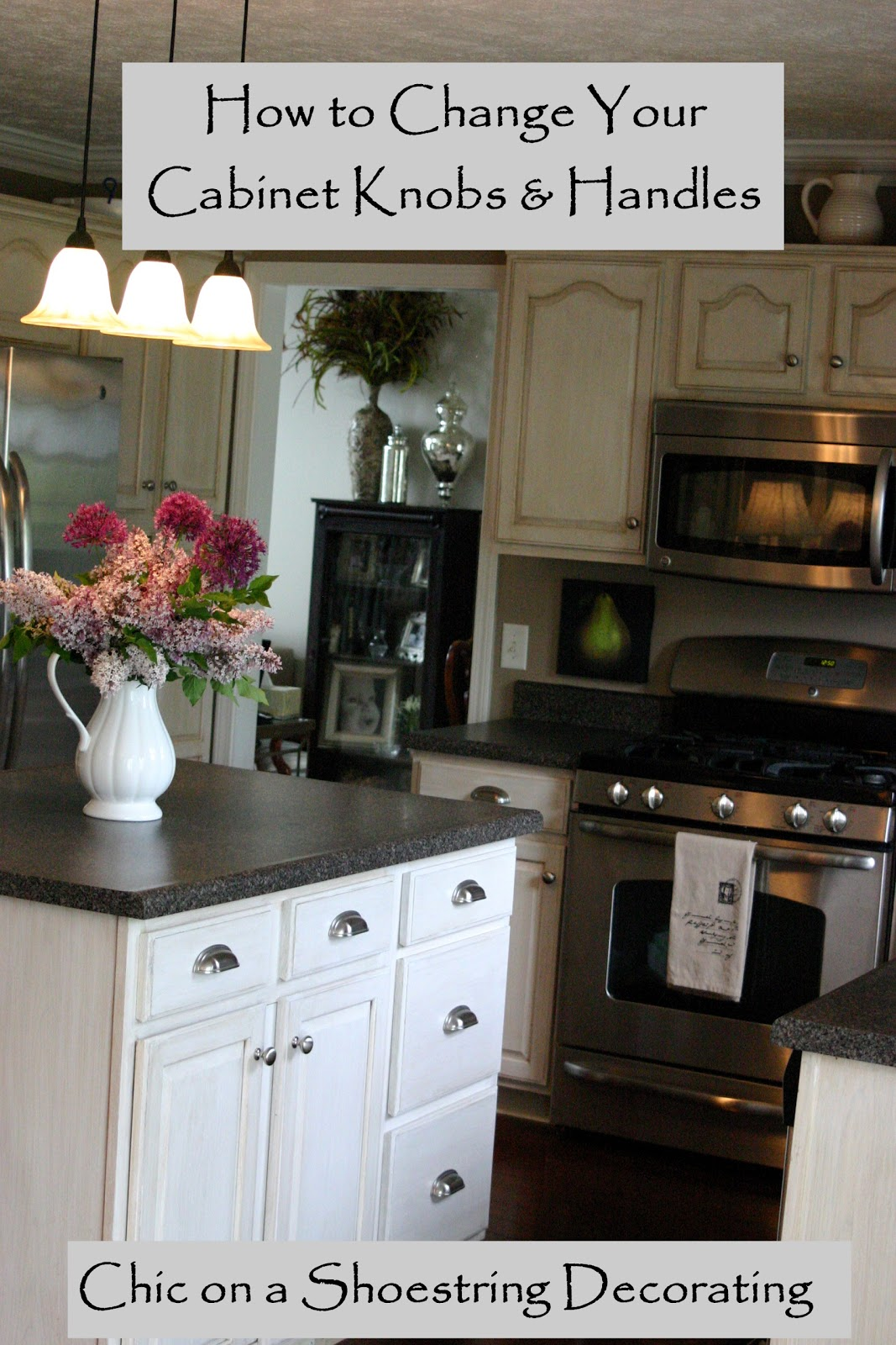 Chic on a shoestring decorating how to change your for Kitchen cabinets knobs
