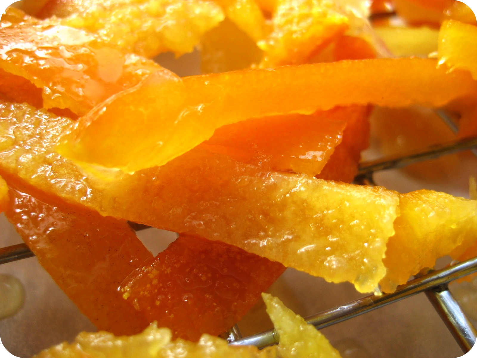 threaded basil: candied citrus peels