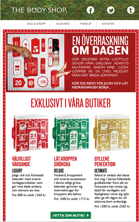 Adventskalender Bodyshop