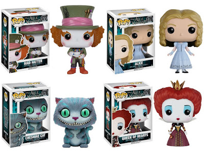 Alice in Wonderland Pop! Disney Series Vinyl Figures - the Mad Hatter, Alice, the Cheshire Cat & the Queen of Hearts