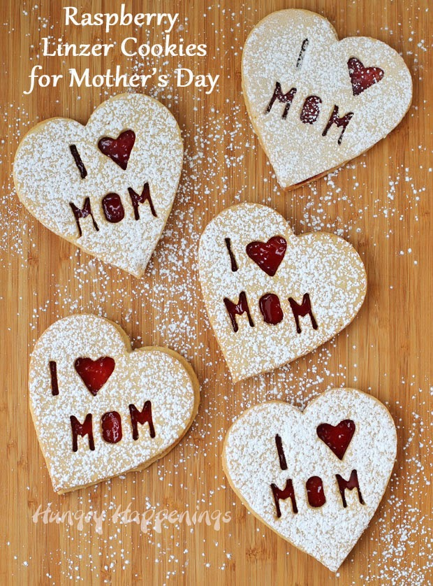 Raspberry Linzer Cookies for Mother's Day | HungryHappenings.com