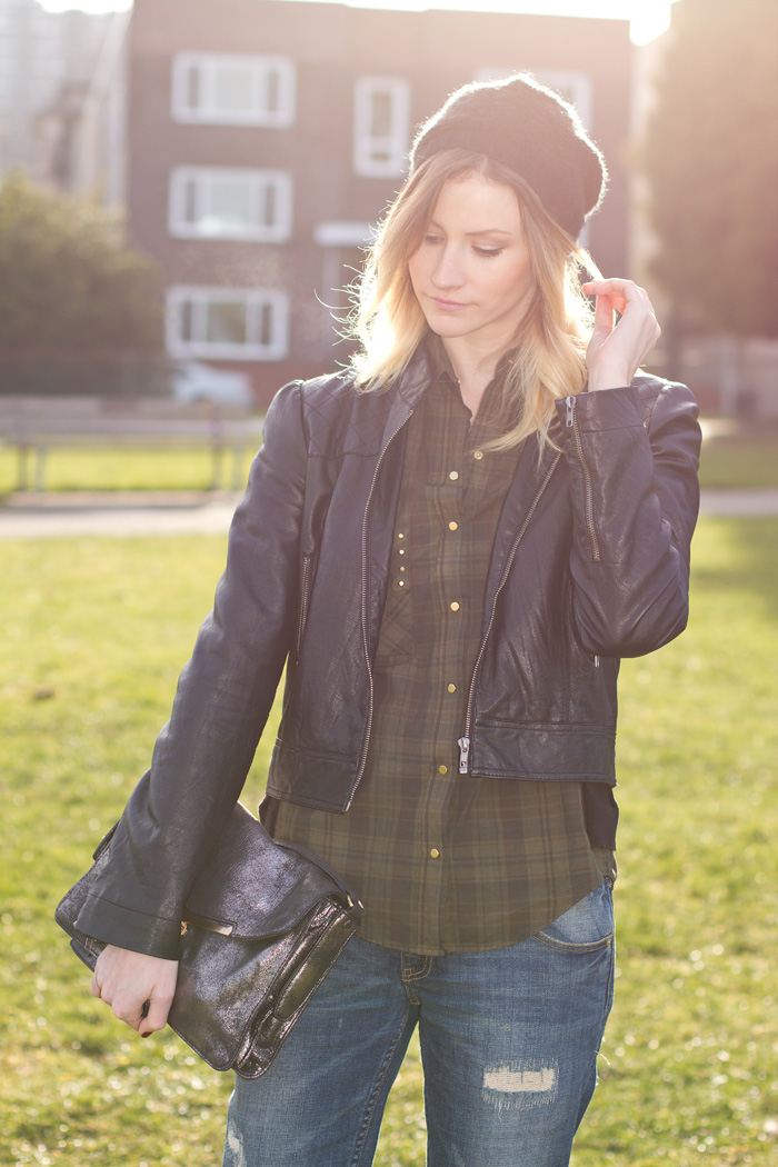 Vancouver Fashion Blogger, Alison Hutchinson, wearing Forever 21 faux leather jacket, Zara army green plaid button-up top, Zara ripped boyfriend jeans, Zara leopard print loafers, Botkier silver Valentina Bag, Urban Outfitters black beenie, Olivia Solie triangle and cross necklace, True Worth Design brass bead bracelet