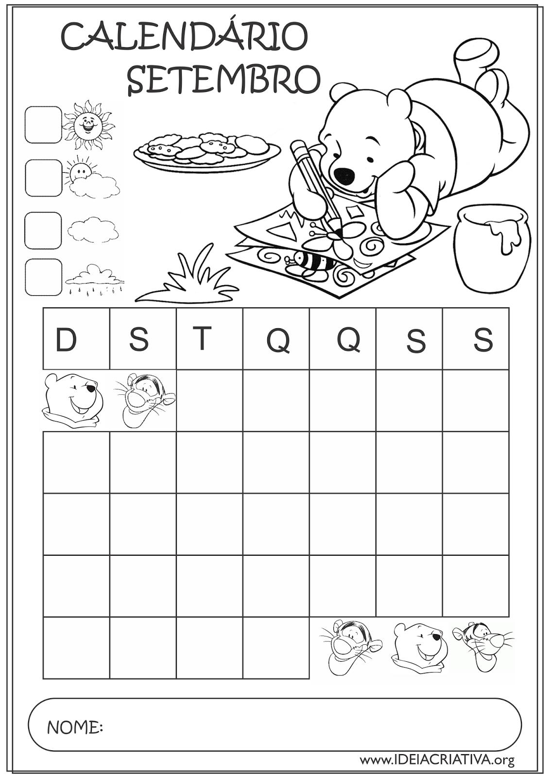 Calendários Setembro 2015 Turma do Ursinho Pooh Educação Infantil