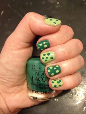 St. Patrick's Day, nail art, OPI, OPI Jade Is The New Black, Essie, Essie Navigate Her, polka dot nails, nail polish, nail varnish, nail lacquer, manicure, mani monday, #manimonday, nails