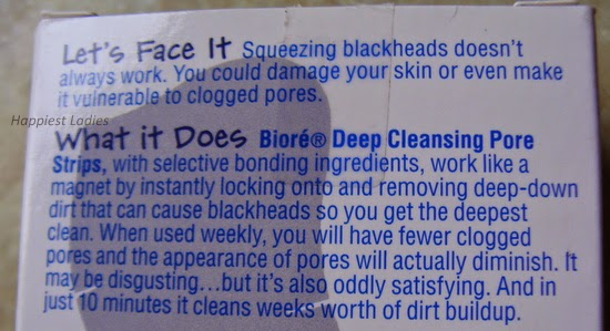 Biore pore strips description