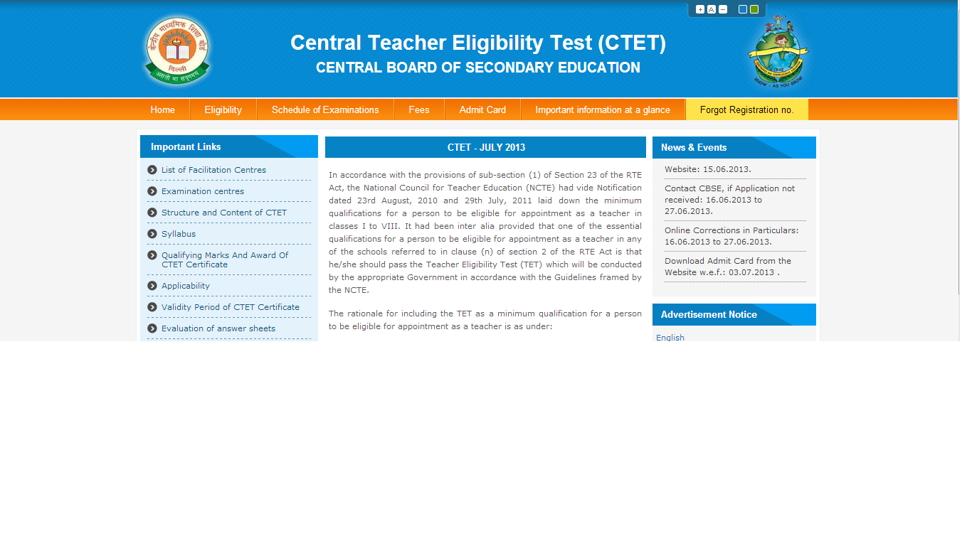 CTET JULY 2013 NOTIFICATION - APPLY ONLINE ADMIT CARD ANSWER KEY