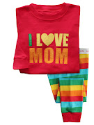 New I love Mom & Dad Pyjamas. Saiz 2,3,4,5,6,7 y , moq 6 pcs 1 lot