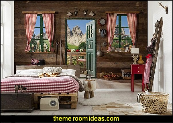 northwoods style antler decor log cabin boys theme bedroom cabin
