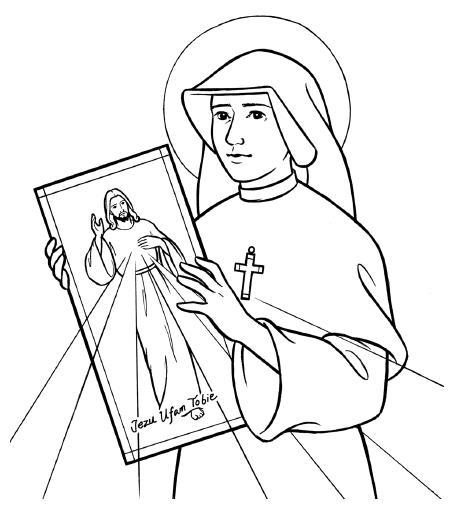 Faustina y Señor de la Divina Misericordia dibujo