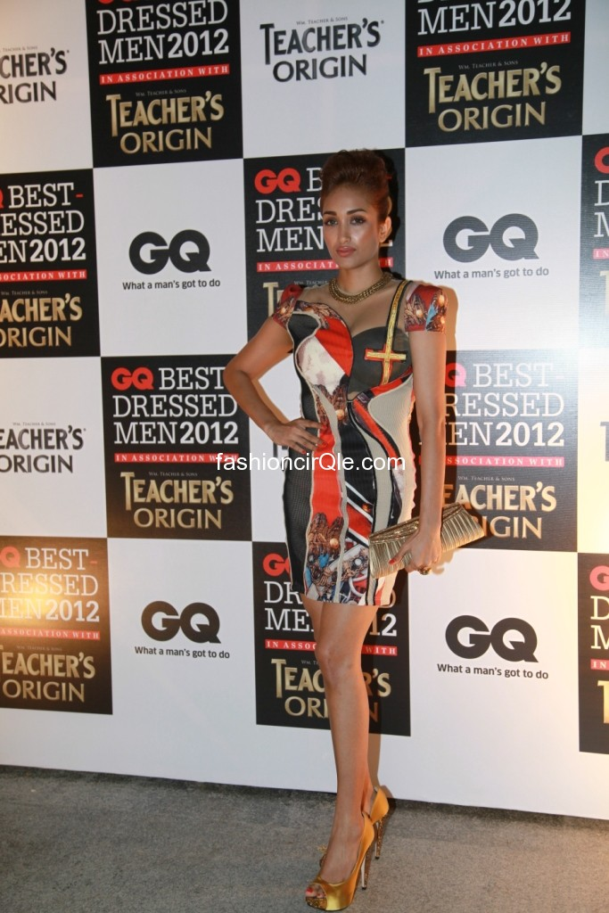 Jiah khan posing in multicolored short dress- hot pic - Jiah khan at GQs Best Dressed Events - HOT DRESS