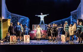 Peter Pan in Cardiff - Iestyn Morris (Peter Pan), Marie Arnet (Wendy) & WNO Chorus - Credit: Clive Barda