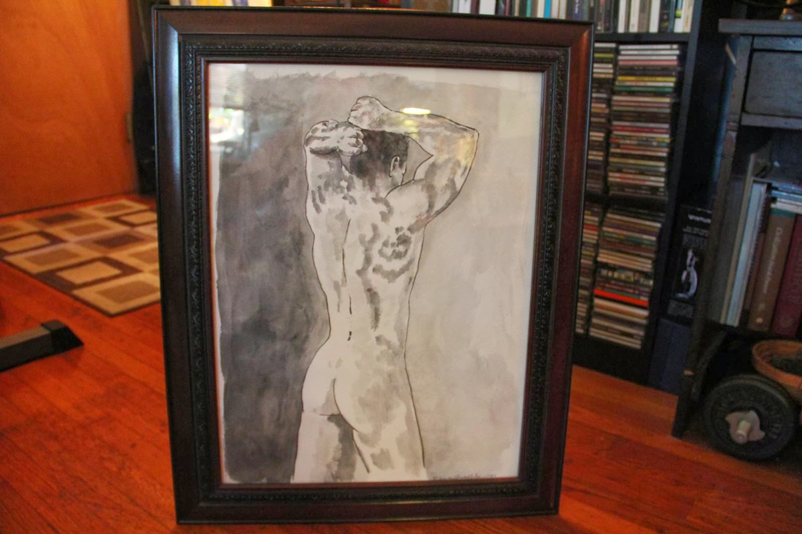 Male Nude Back, pen and ink wash by F. Lennox Campello 1981
