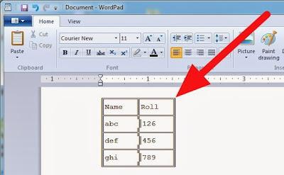 Cara Cepat Membuat Table di Wordpad