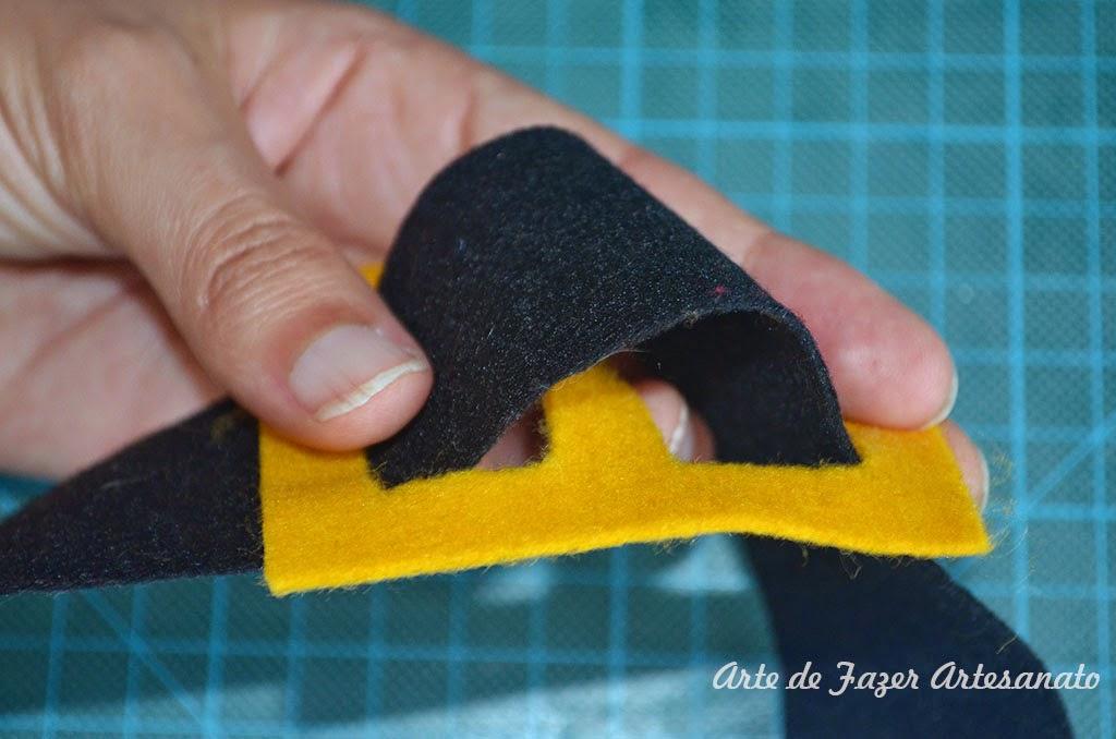 Toalha de Natal coloque o cinto antes de costurar