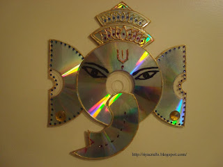 Riya 39 s crafts craft ur scrap ganesha cd craft for Best out of waste for class 1