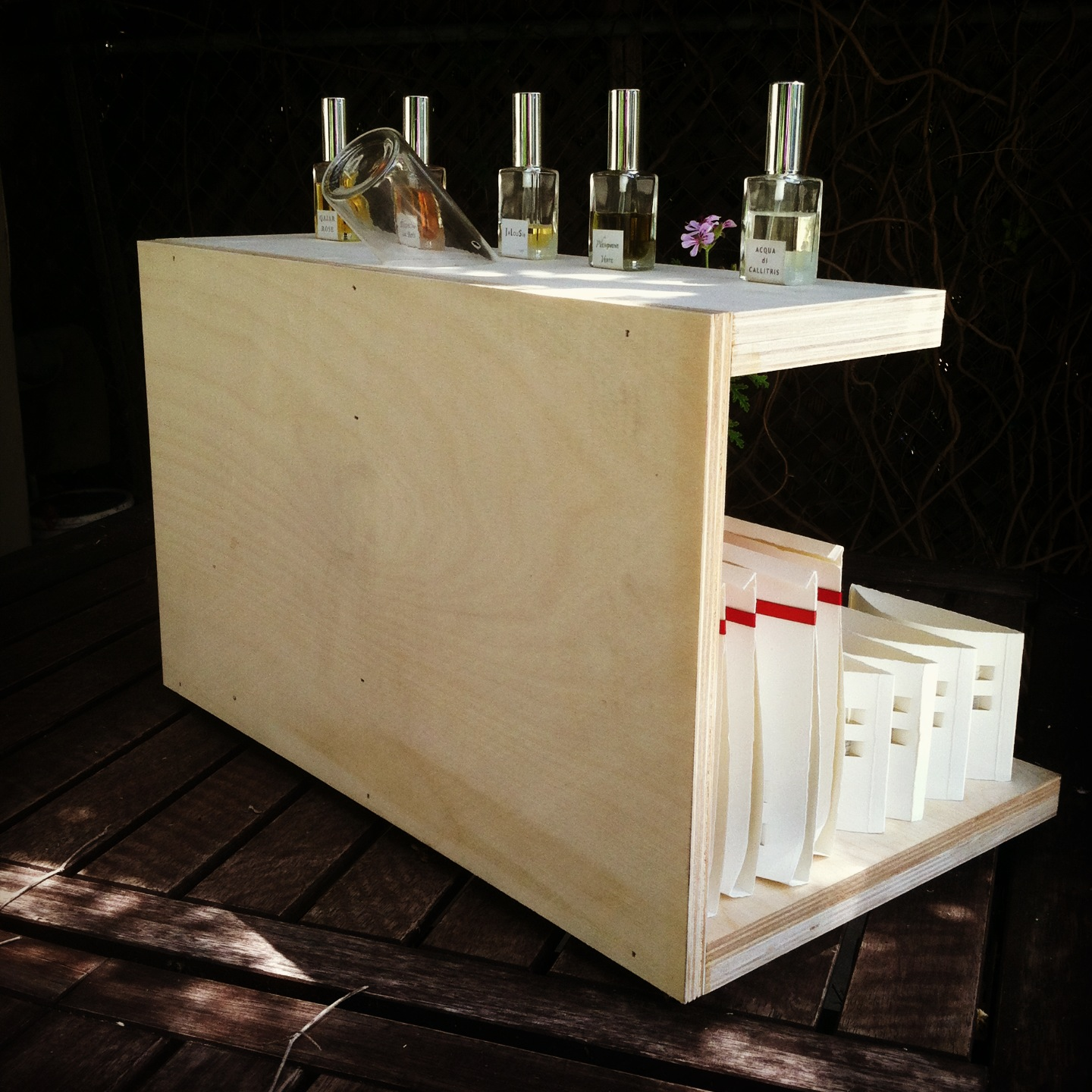 Perfume Tester Display: Architecture Of Perfume: FRAGments In LA: Crucible Of Ideas