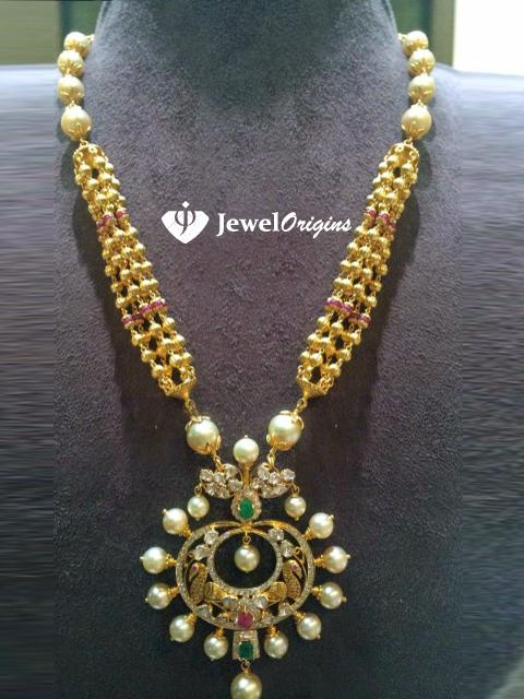 Beaded Gold Necklace With Chandbali Pendant Jewelorigins