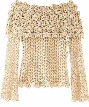 Blusa de Crochê para o Outono e Inverno