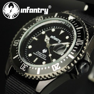 INFANTRY Pilot Mens Sport DATE Army Quartz Luminous Watch Black Nylon Strap GIFT