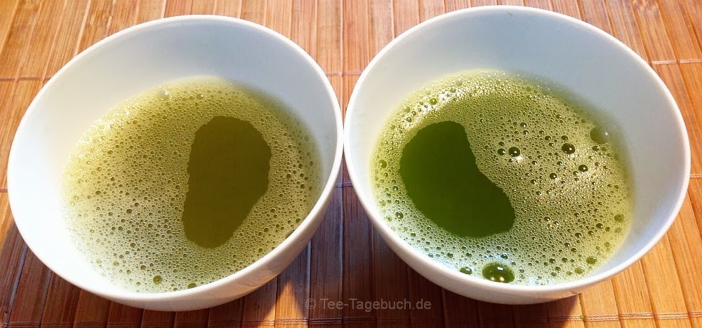 Links imogti House Blend (China, kbA), rechts Wazuka Japan-Matcha (kbA)