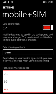 4G Network in Lumia 625