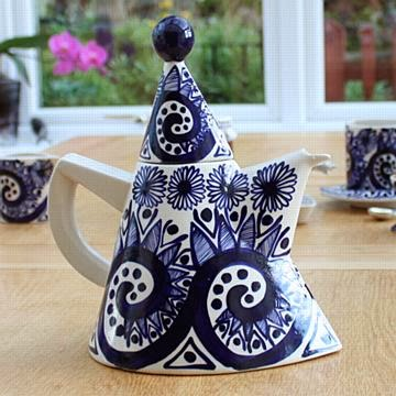 Blue hand painted ceramic teapot by David Pantling