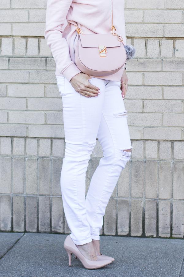chloe drew cross body light pink style