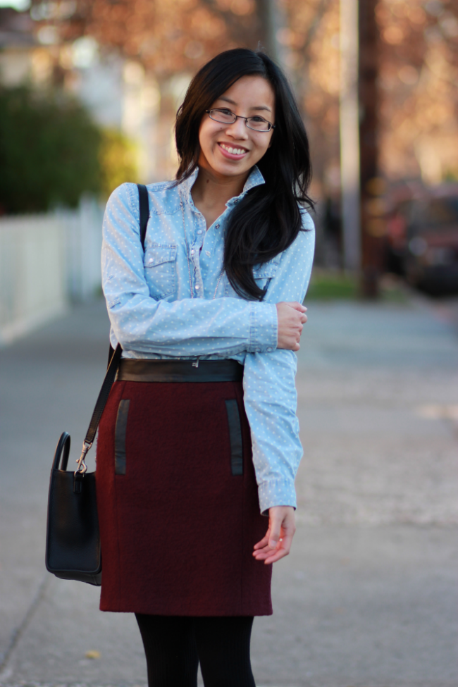 chambray with wool texture outfit