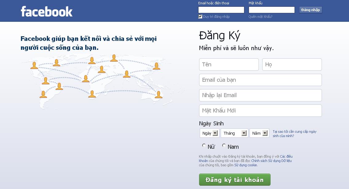 ddang nhap facebook