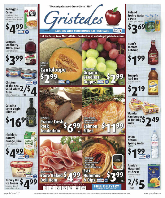 CHECK OUT ROOSEVELT ISLAND GRISTEDES Products, SALES & SPECIALS For August 10 - August 16