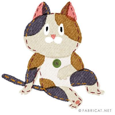 カッコつけている可愛い三毛猫のイラスト