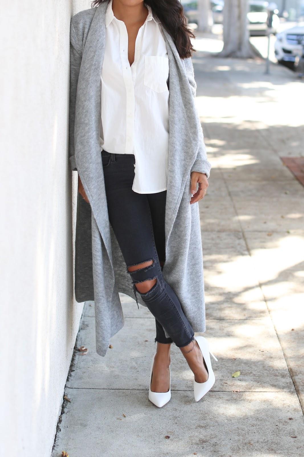 bb dakota long cardigan, how to wear long cardigan, j brand distressed denim, kardashian kollection white heels