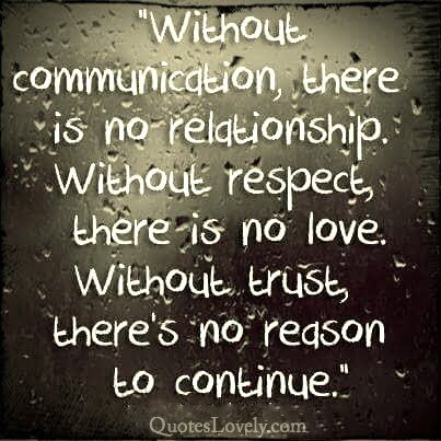 Without communication there is no relationship