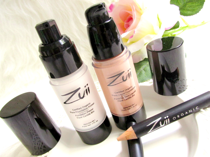 Zuii Organic Flora Foundation Primer Clear 100 - 30ml - 28.95 Euro Flora Liquid Foundation in Natural Medium 102 - 30ml - 38.05 Euro Flora Concealer Pencil in Latte 1.8g - 16.50 Euro