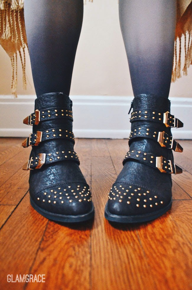 gold accent ankle boots - ombre tights