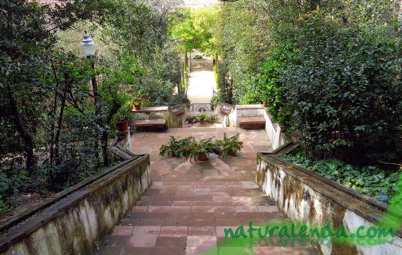 escalinatas de los jardines de Laribal
