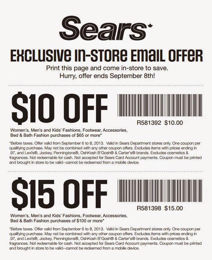 15% Off Sears Coupons & Promo Codes - November 15% off Get Deal Sears Coupons & Promo Codes. 99 coupons. 2 added today, 56 this week. Find the most comfortable furniture and bedding products around every time you shop at Sears.