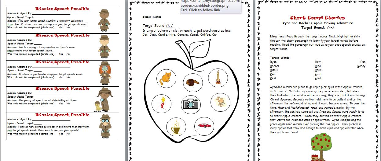 Speech homework worksheets – Articulation Worksheets