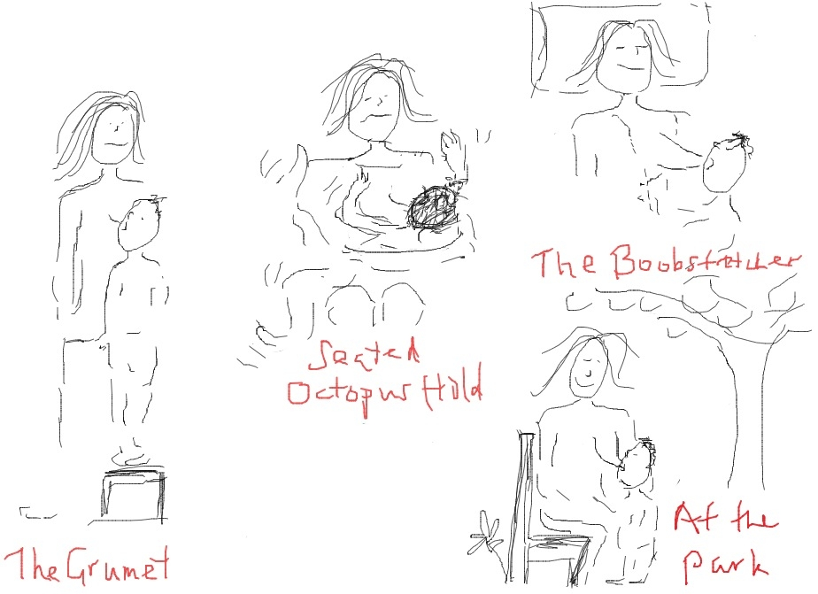 A few of the standard nursing positions. :) | All things birthing ...
