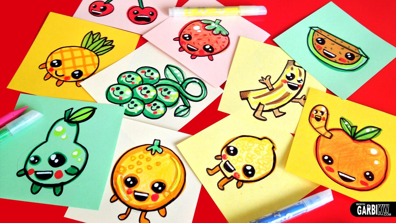 Tutorial Cmo dibujar Frutas Bonitas  Dibujos sencillos y Kawaii