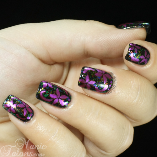 Metallic Flowers over Flakies Nail Art