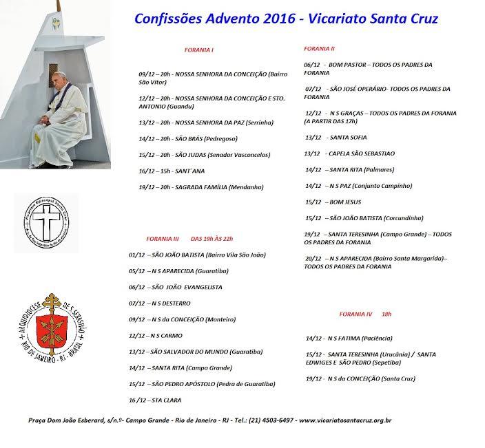 CONFISSÕES NO VICARIATO SANTA CRUZ