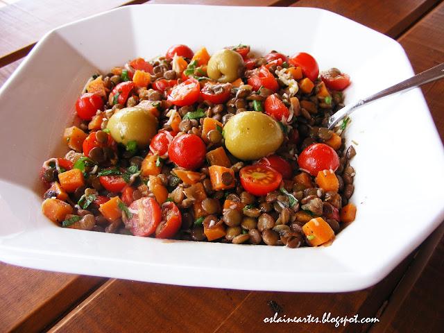 Salada de lentilhas com Cenoura e Tomate Cereja