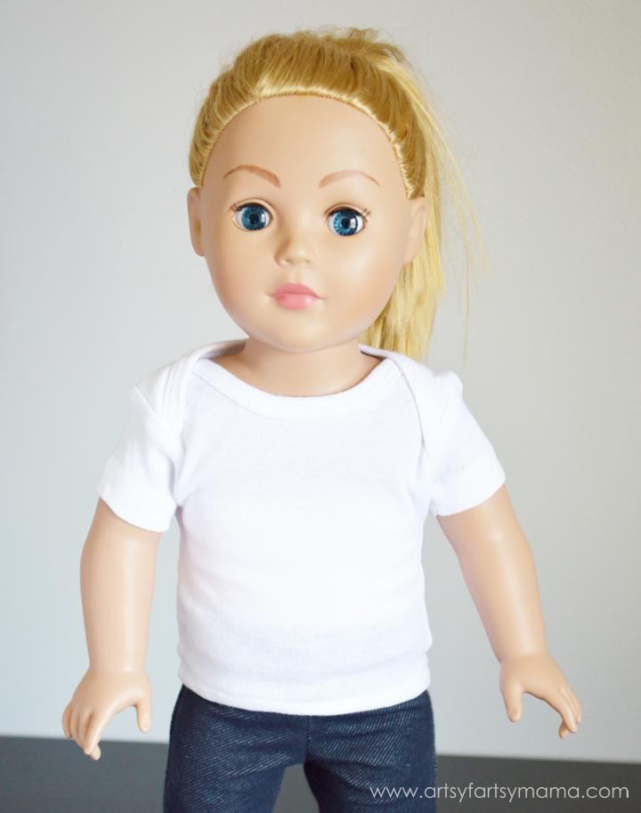 Turn a onesie into an 18 inch doll t-shirt at artsyfartsymama.com